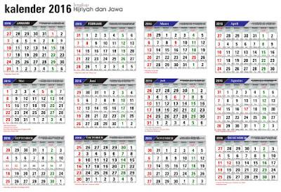 Download Kalender 2016 Lengkap Hijriyah dan Jawa serta Hari Libur Nasional