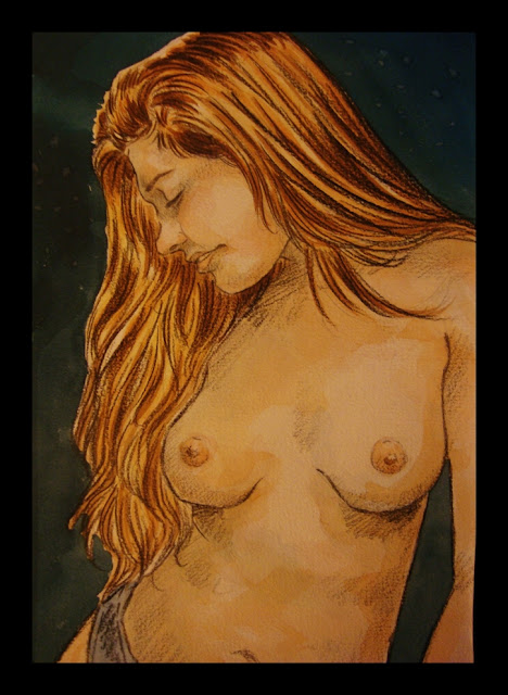 desnudo en acuarela y color