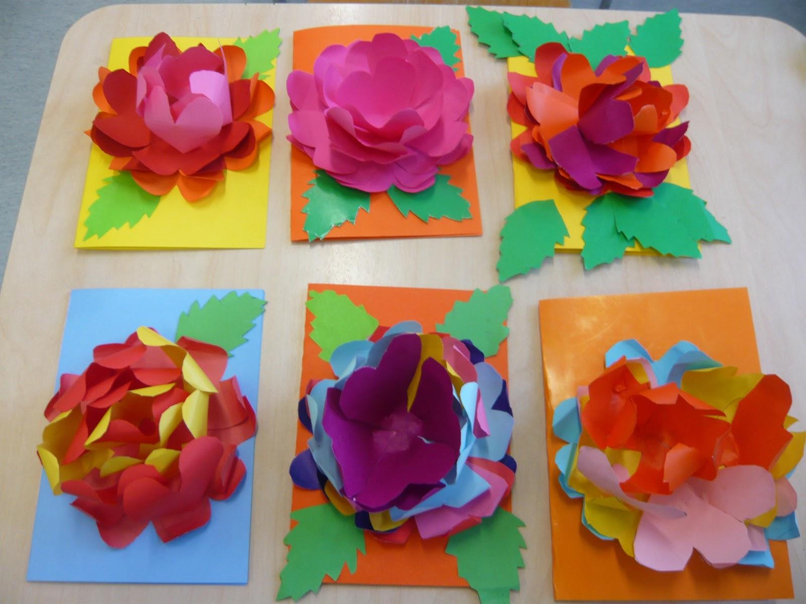 Открытка с объемными цветами 961