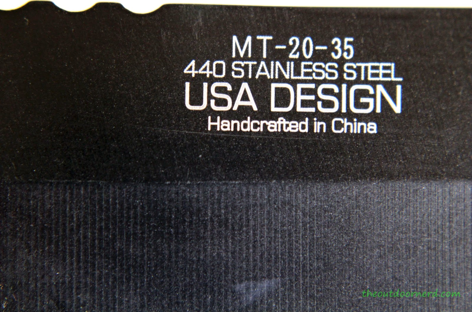 MTECH MT-20-35BK Fixed Blade Knife: Logo Closeup 2