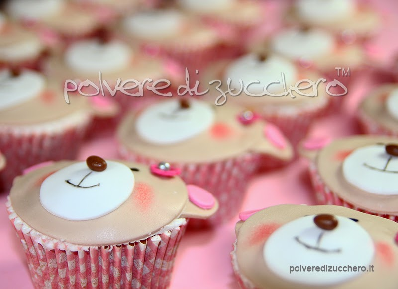cupcake decorati pasta di zucchero bimba orsetto vendita polvere di zucchero