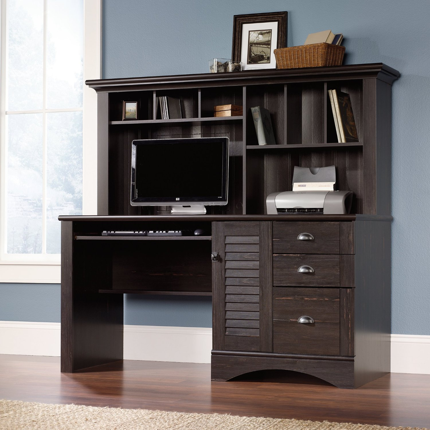 Wood Home Office Computer Desk With File Drawer U0026 Extra Storage Hutch