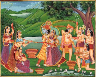 Krishna, the new love-god known as Madanamohana, he-who-can-charm-Cupid; Miniature painting