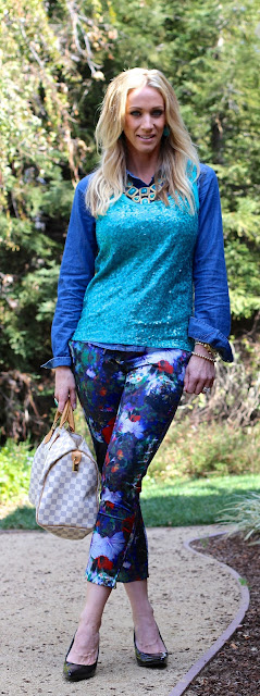 floral pants sequin top