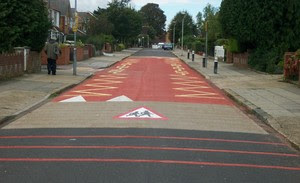 Road Markings today outside the old school.