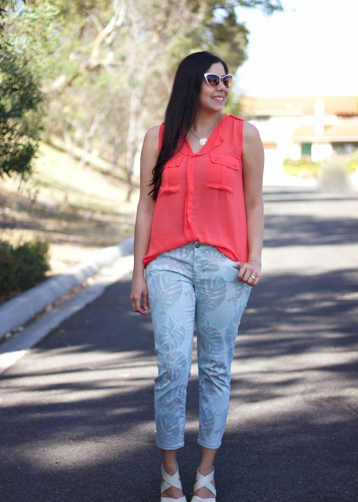 What to wear on a hot day, coral top and green combination, CAbi jeans, Cotton On top, Monogram necklace