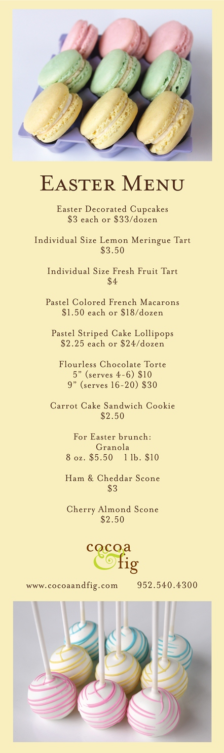 Easter Menu at Cocoa & Fig
