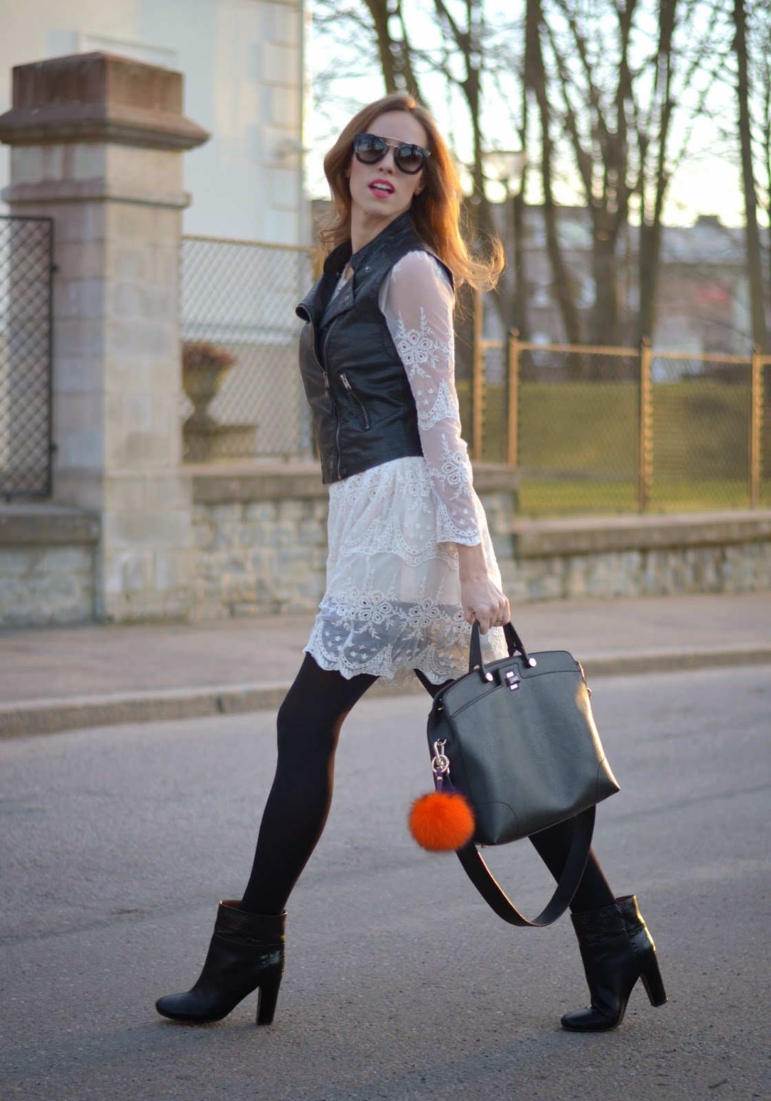 furla-bag-chloe-black-ankle-boots-white-lace-dress kristjaana mere