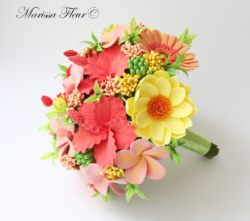 A Touch Of Beauty Tropical Brides Bouquet With Coral Gerbera