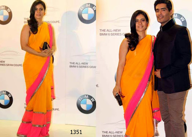 1351-Kajol wore a Orange and Pink tired saree at the launch of a luxury store in Dubai-New