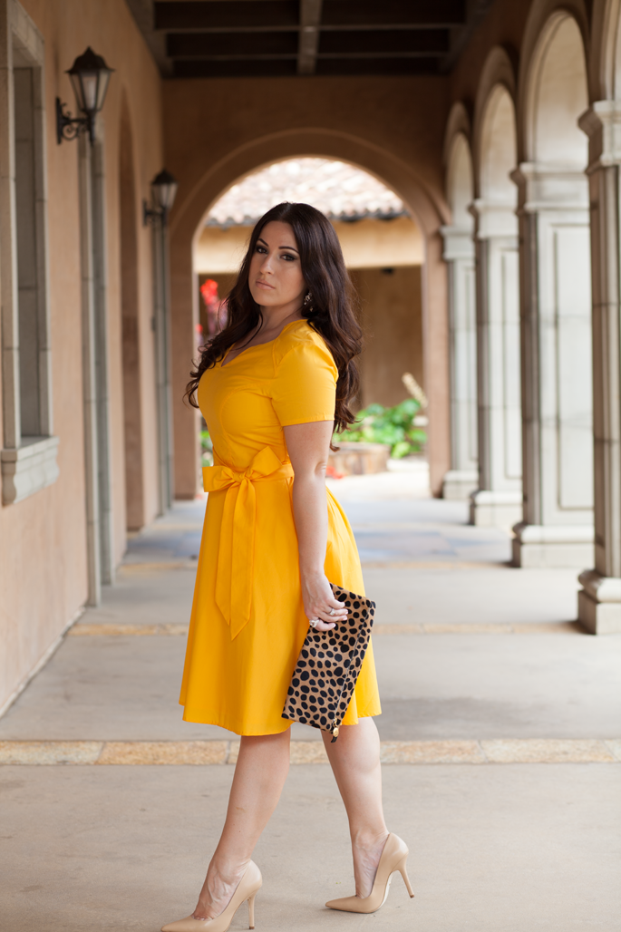 eshakti custome dress, leopard clare vivier clutch, nude charles david pumps