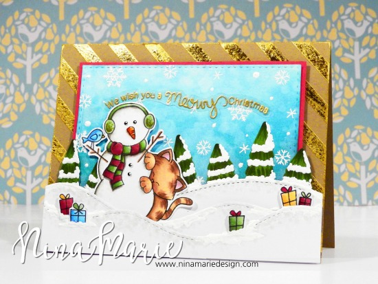 Holiday scene with Kitty and snowman by Nina-Marie Trapani | Cat stamp sets by Newton's Nook Designs #newtonsnook