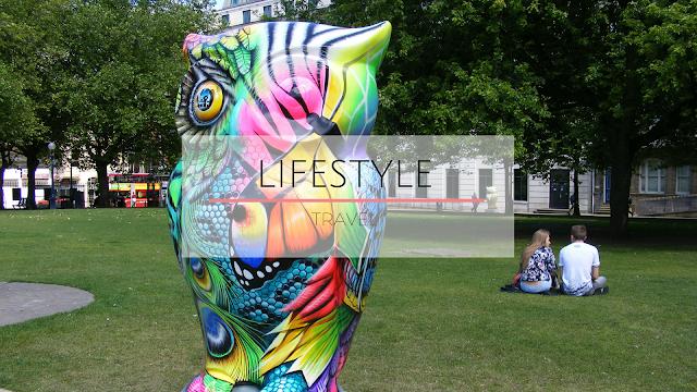 Owl statue in park