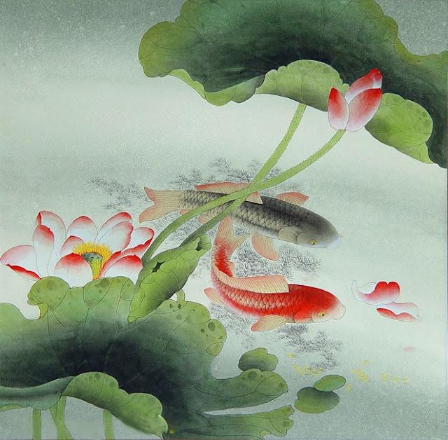 Tranh đá quý cá chép hoa sen