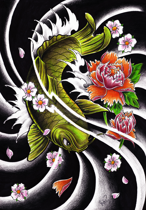 Japanese tattoos fish koi tattoo design for Japanese koi design