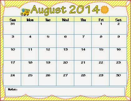 Monthly Calendars for Teachers - August