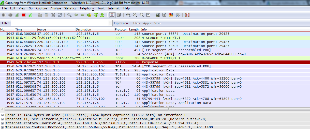 Wireshark Live Packets