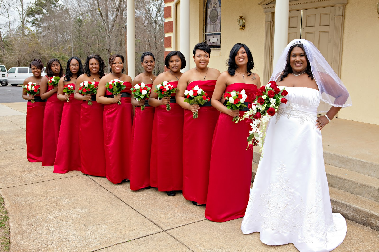 Bridal party with bride outside church