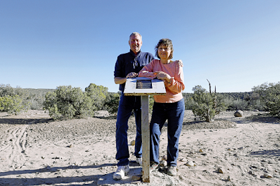 Scott and Susan Ramsey at their plaque marking the site of an alleged UFO crash 3-27-15
