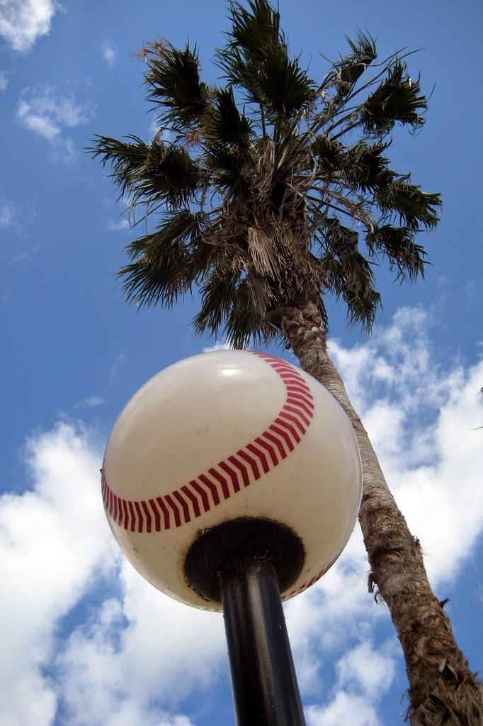 Baseball Shaped Street Light and Palm Tree