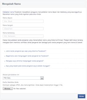 cara ganti nama akun facebook yang sudah limit