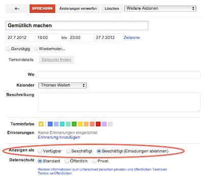 Google Kalender Einstellungen auf beschäftigt setzen.