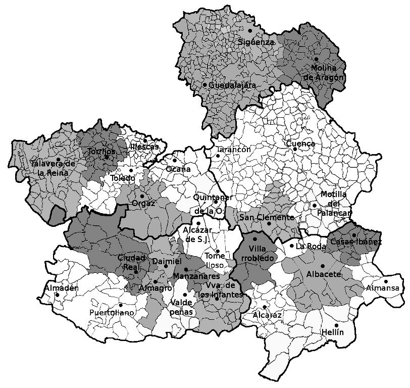 Mapa politico de Castilla la Mancha para imprimir
