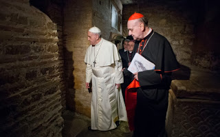 pope francis in Necropolis under st peters basilica