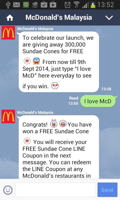 Line Malaysia giving out McDonald's sundae cone