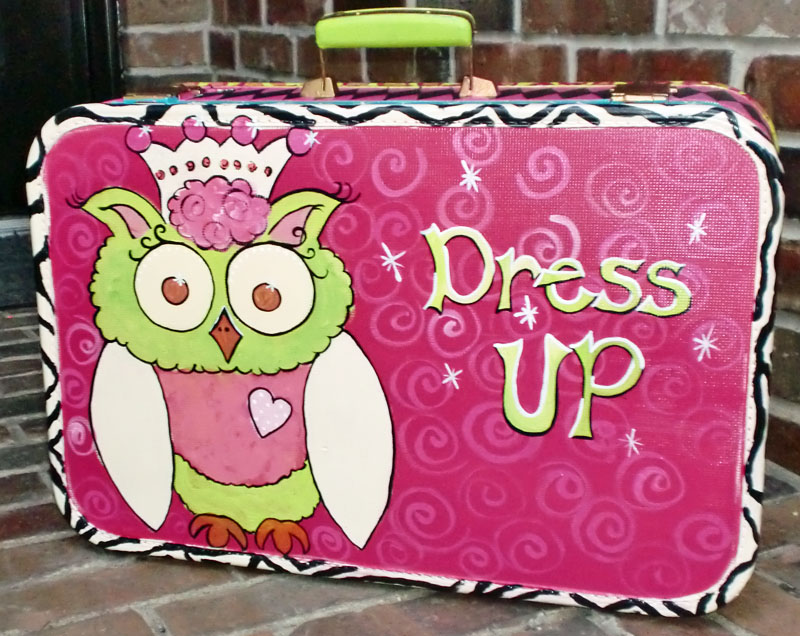 Hand painted Princess Owl Vintage Suitcase