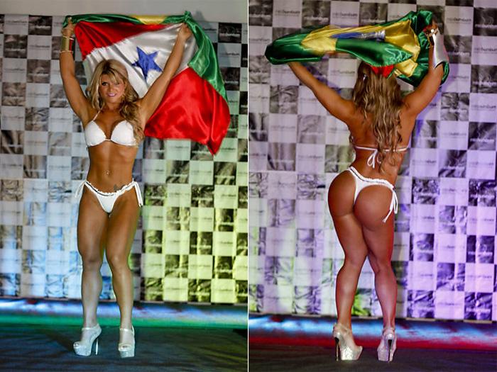 Vestida com biquíni branco, Carine Felizardo dançou com a bandeira do Pará e do Brasil durante a sua apresentação. Foto: Rubens Cavallari / Folhapress