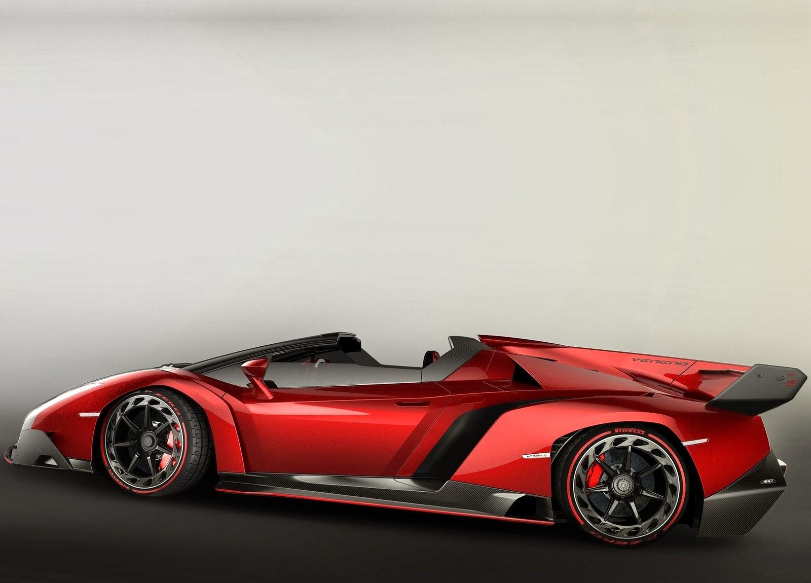 Mobil Sport Lamborghini Veneno Red Side View