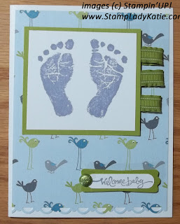 Card made with the Stampin'UP!'s new Baby Prints stamp set and Nursery Nest Designer Paper