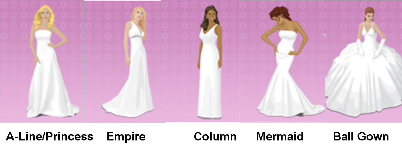 Wedding Dresses For Different Shapes : Read about different styles of dress such as bolero sweetheart