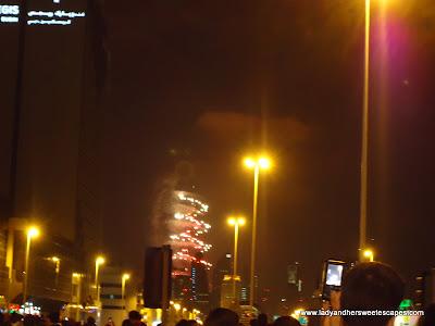 Fireworks Burj Khalifa far