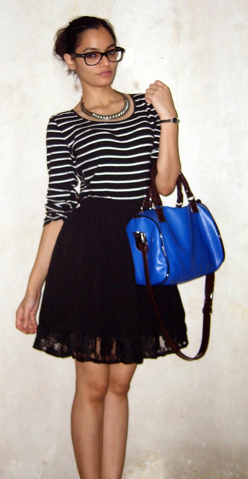 monochrome, geek chic, glasses, jabong shopping review, online shopping, stripes, indian fashion blogger, mumbai streetstyle, lenskart glasses, skater skirt, mumbai fashion blogger