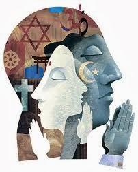 símbolos religiosos em rostos em meditação