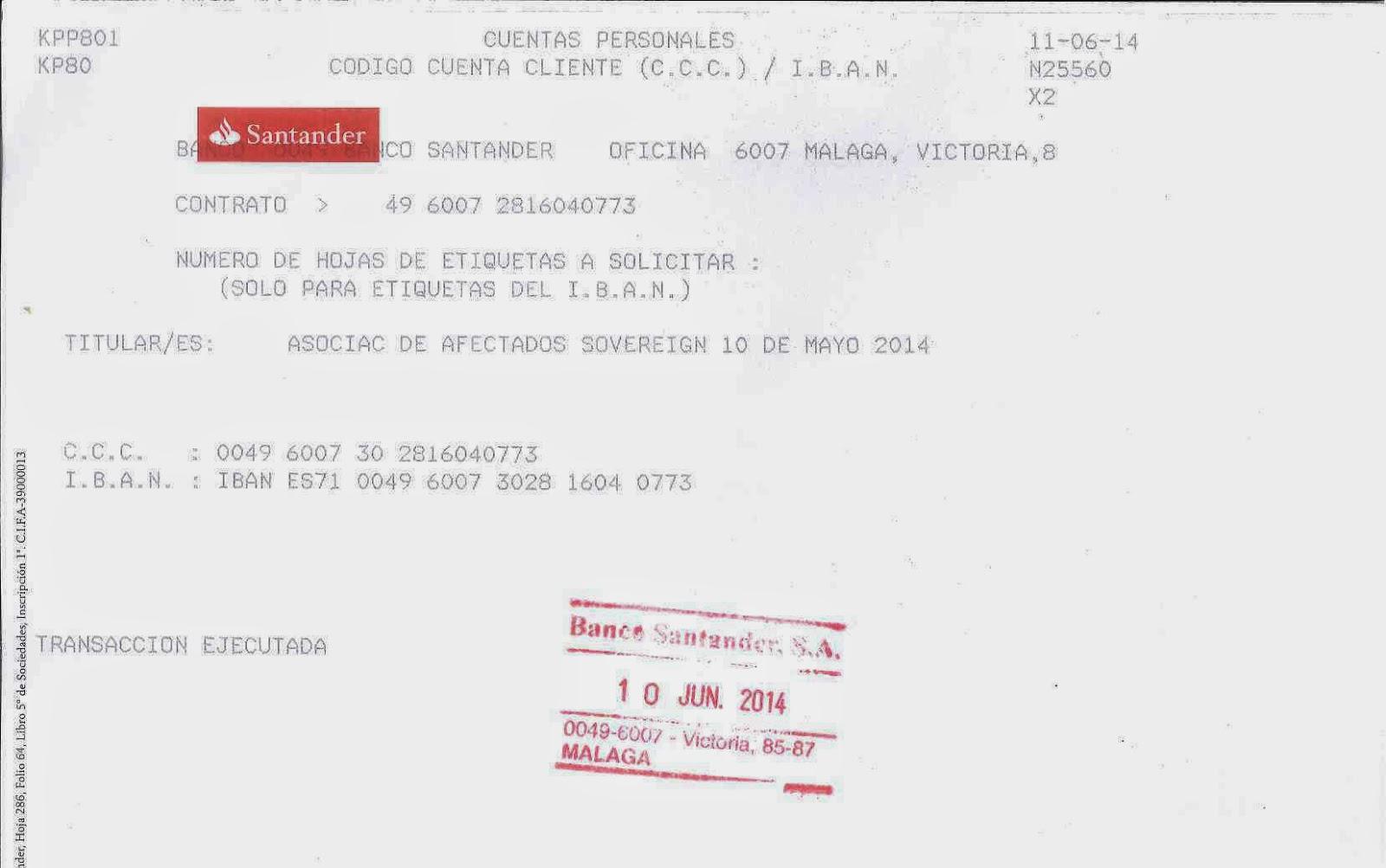Afectados sovereign 10 de mayo de 2014 for Oficina 0049 banco santander
