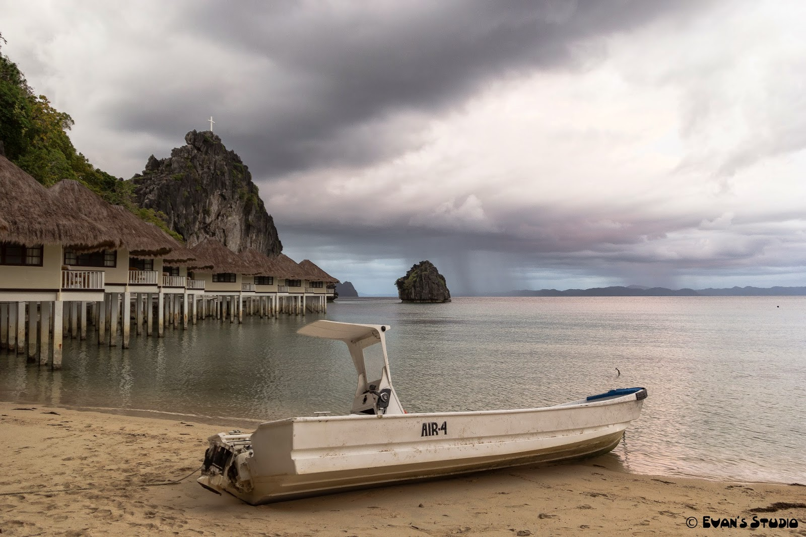 A storm is brewing beyond the Air4 boat at Apulit Island Resort, in the Philippines.