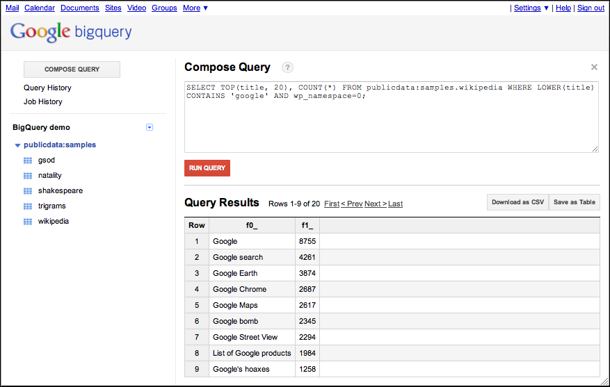 Google BigQuery screenshot