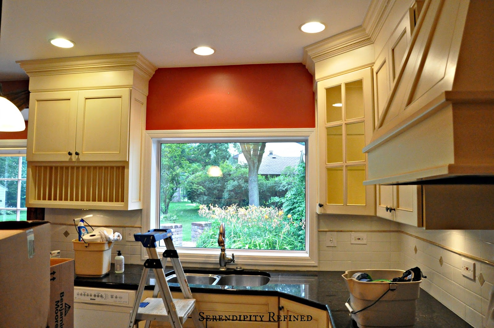 Serendipity Refined Blog French Farm House Kitchen Progress Paint and Light Fixtures