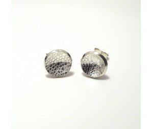 silver lace imprint earrings