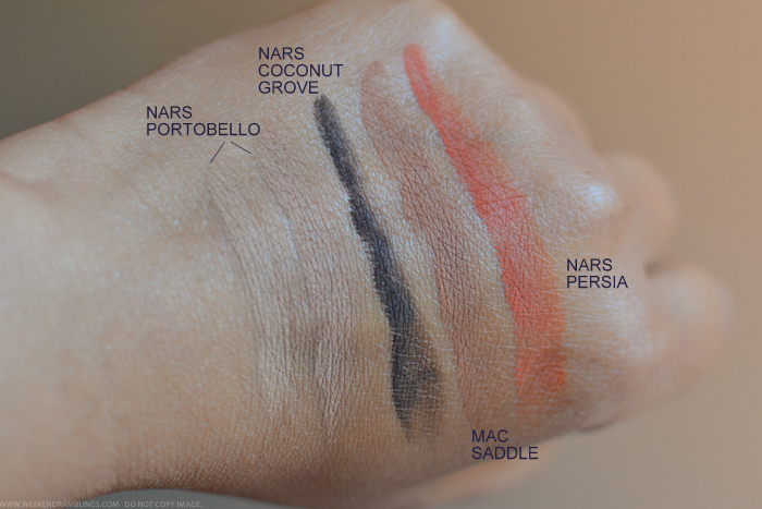 Eyeshadow Swatches NARS Portobello Persia Coconut Grove MAC Saddle