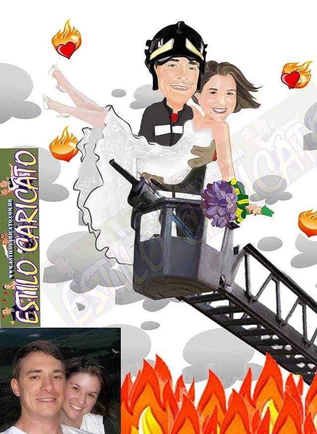 bombeiro e a noiva caricatura