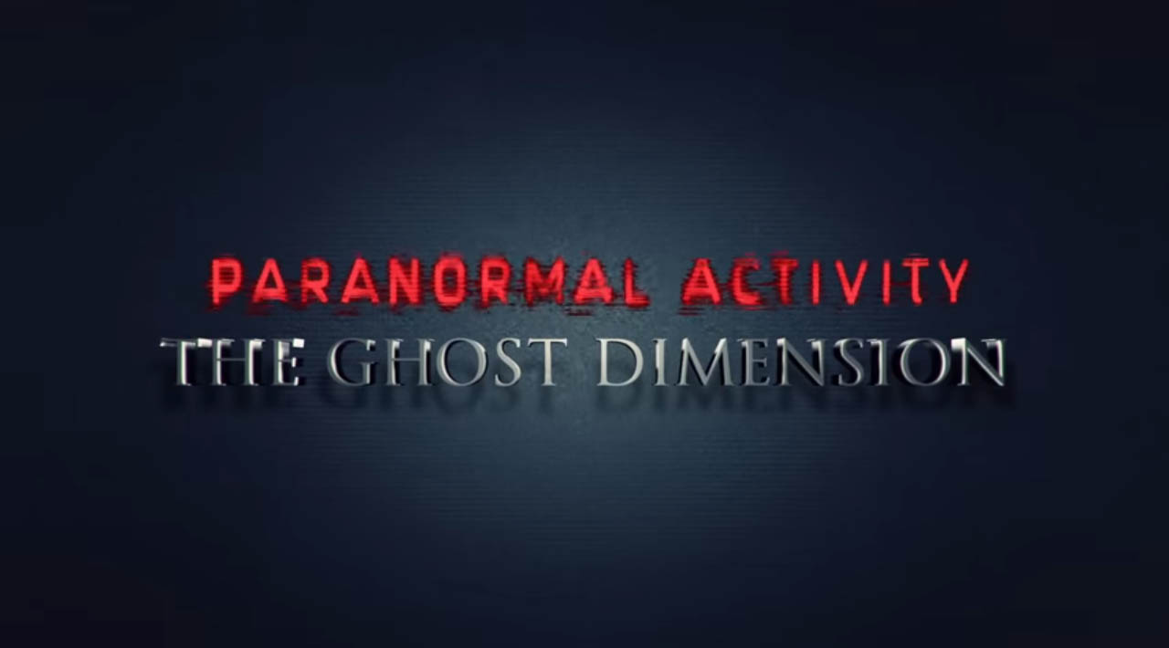 Paranormal Activity The Ghost Dimension 2015 found footage horror movie title directed by Gregory Plotkin starring Chris Murray, Brit Shaw, Dan Gill, Ivy George, and Katie Featherston showing October 2015