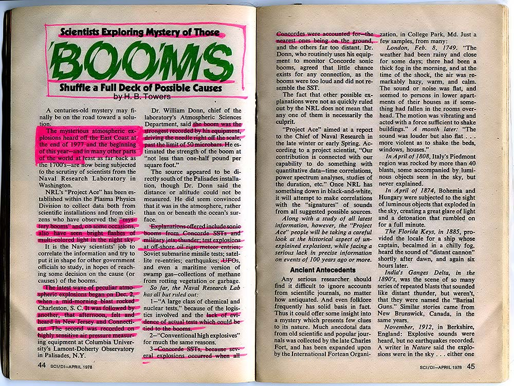 Science Digest Article From April 1978 About Air Booms Phenomenon Caused by Cosmospheres
