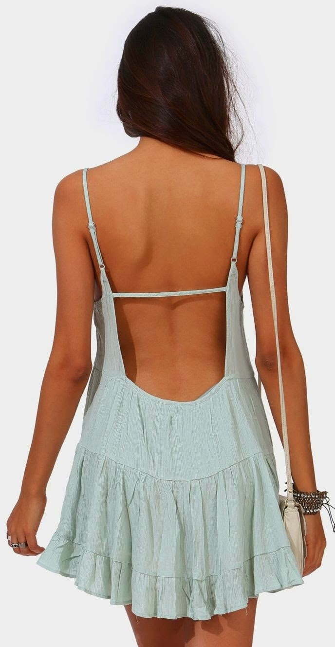Misty Mint backless dress. Perfect summer choice