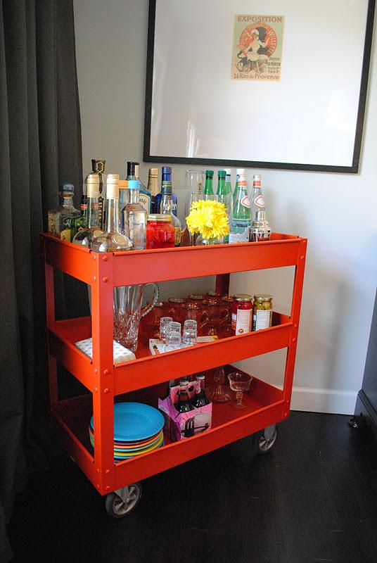 A thousand laughing starfish diy bar cart for Diy liquor bar