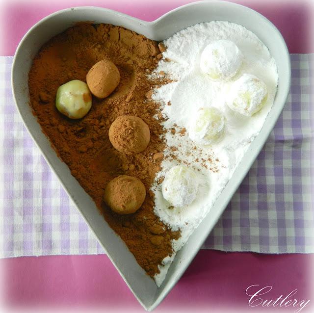 Truffles z bielej čokolády s kandizovaným ovocím