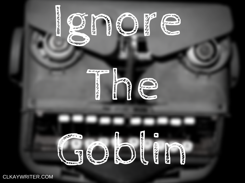 clkaywritter.com C. L. Kay Ignore The Goblin Angry Typewriter Graphic